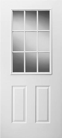 Universal 22 x 36 9 lite glass door insert for 15 lite door insert