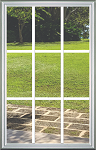 Universal 22 x 36 - 9 Lite Clear Glass & White Frame Grids on the Inside (4 Color Options)