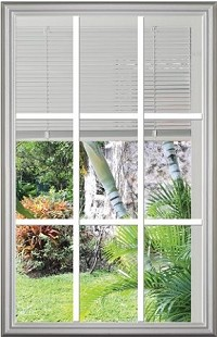 Universal 22 x 36 - 9 Lite Clear Glass with Blinds and Grills Between the Glass