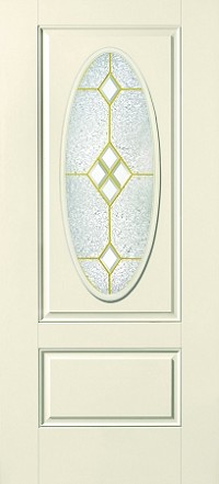 Therma-Tru Crystal Diamonds 16 x 40 Oval Glass and Frame
