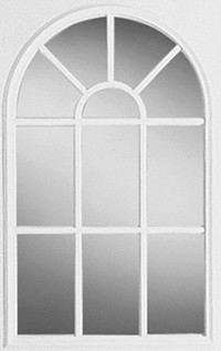 Universal 22 x 36 - 11 Lite Round Top Glass & White Frame