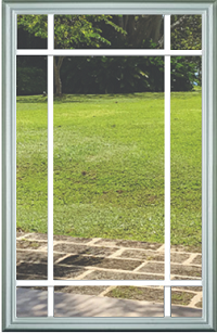 Universal 22 x 36 - 9 Lite Prairie the Glass & White Frame with Grids Between the Glass