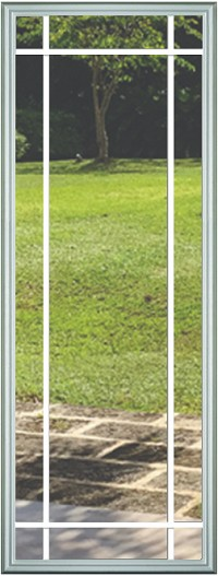 Universal 20 x 64 - 9 Lite Prairie the Glass & White Frame with Grids Between the Glass